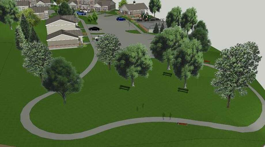 A mockup shows the play area, with green space and a walking path, at the upcoming Alton development. Photo:       For The Telegraph
