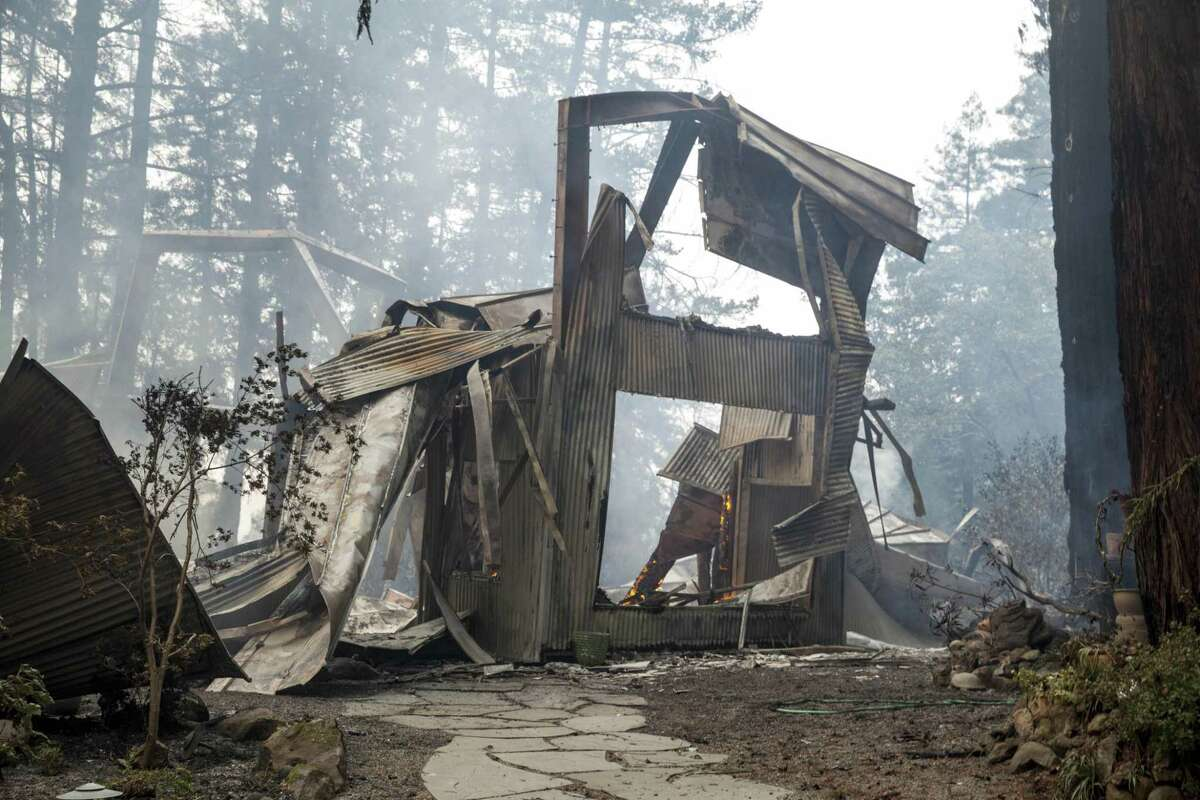 This was all that was left of a burned-out and collapsed house on Mount Veeder Road after flames from the Nuns Fire moved through the Napa Valley last October.