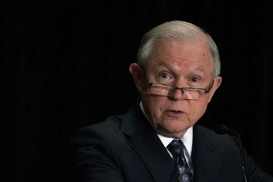 TYSONS, VA - JUNE 11:  U.S. Attorney General Jeff Sessions delivers remarks at the Justice Department's Executive Officer for Immigration Review (EOIR) Annual Legal Training Program June 11, 2018 at the Sheraton Tysons Hotel in Tysons, Virginia. Sessions spoke on his intention to limit reasons for people to claim asylum in the U.S.  (Photo by Alex Wong/Getty Images) Photo: Alex Wong / 2018 Getty Images