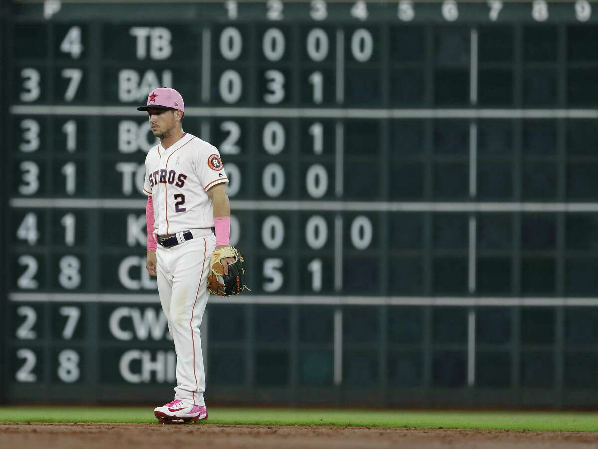Alex Bregman originally found himself in left field as part of the Astros' shift against the Rangers' Joey Gallo this season, but A.J. Hinch now deploys him just to the right of second base at the lip of the outfield, as seen here in a May series at Minute Maid Park.