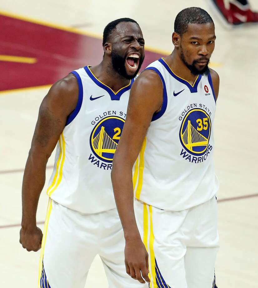 Golden State Warriors' Draymond Green exults after Kevin Durant hit 3-pointer late in 4th quarter of Warriors' 110-102 win over Cleveland Cavaliers in Game 3 of the NBA Finals at Quicken Loans Arena in Cleveland, OH on Wednesday, June 6, 2018. Photo: Scott Strazzante / The Chronicle