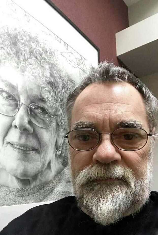 Midland artist Armin Mersmann stands with 'Blues for Mama,' his graphite drawing of his mother. He will behonored during a public reception from 4 to 6 p.m. June 22 at the Midland Center for the Arts. (photo provided)