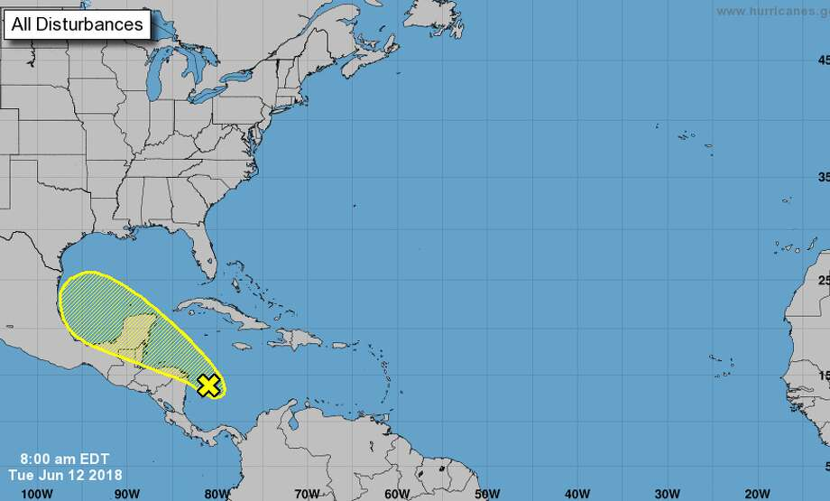 Chances of a tropical cyclone forming are low over the next five days, at 20 percent. Regardless of formation, the disturbance is expected to bring rain to southeast Texas this weekend. Photo: National Hurricane Center