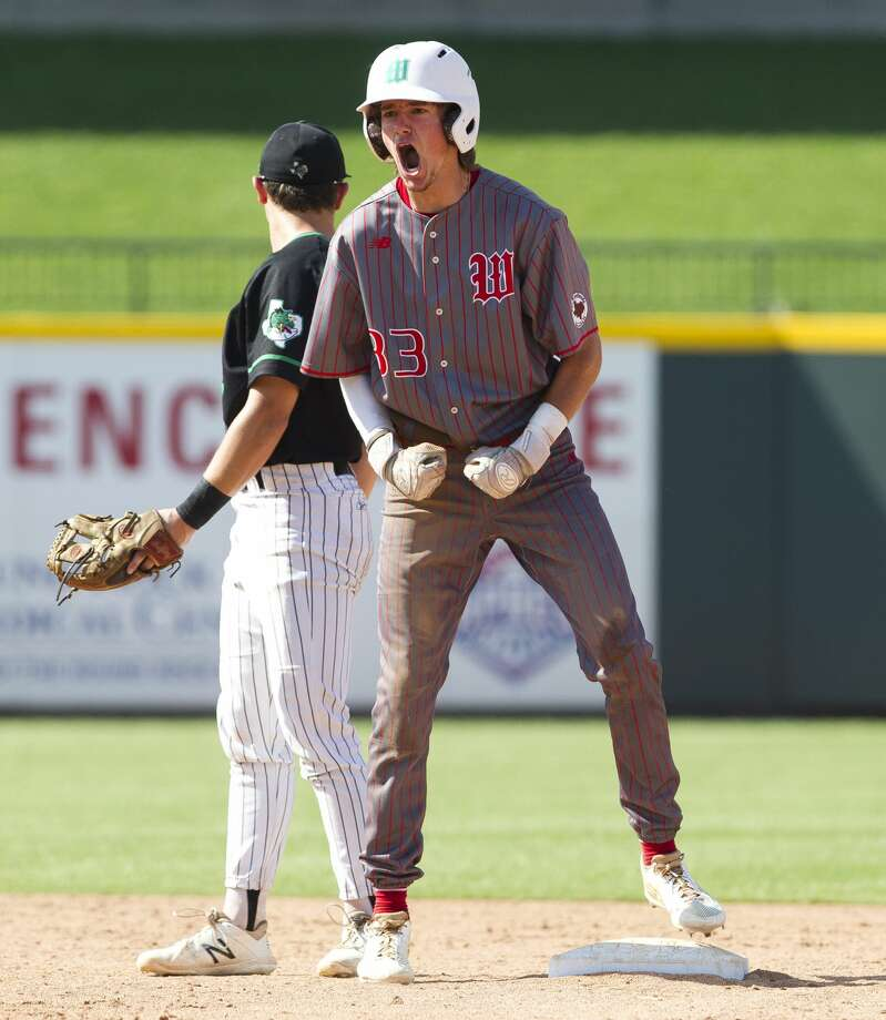 Ryan Solberg #33 of The Woodlands reacts after hitting a double in the fifth inning of a Class 6A state semifinal game during the UIL State Baseball Championships at Dell Diamond on Friday, June 8, 2018, in Round Rock. Photo: Jason Fochtman/Houston Chronicle