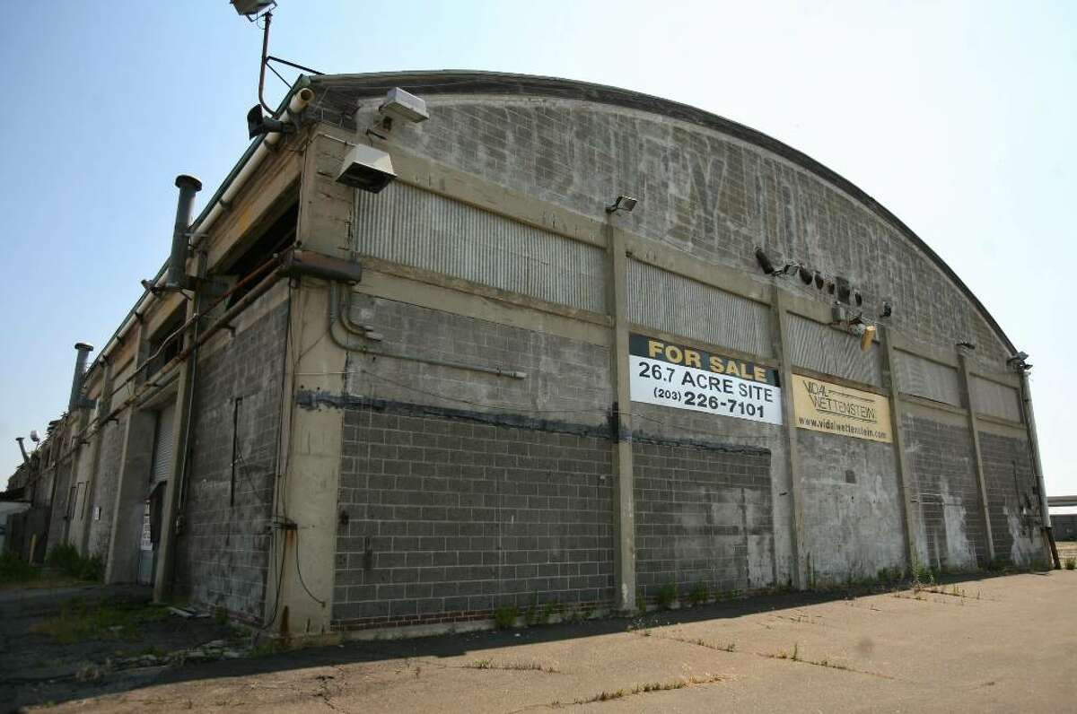 A for sale sign on one of the large buildings at the vacant Cilco Terminal site off Seaview Avenue in Bridgeport.