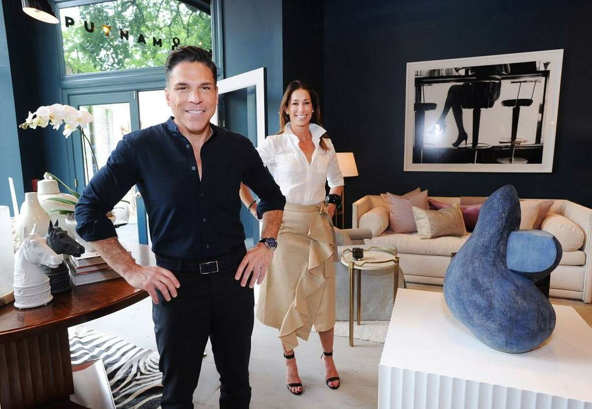 Robert Passal, left, and Kim Alessi, owners of Putnam & Mason Design Atelier jstand in their Greenwich store last year, weeks after they opened. A stop in the Greenwich Design District, they join other retailers and services that are making a stretch of Putnam Avenue, and surrounding areas, a stop for design enthusiasts.
