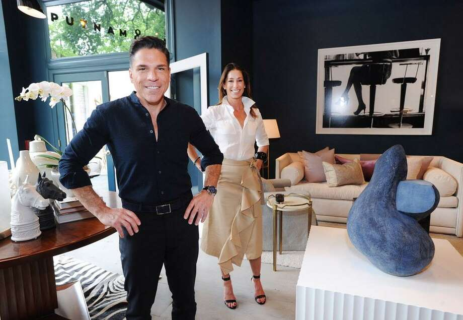 Robert Passal, left, and Kim Alessi, owners of Putnam & Mason Design Atelier jstand in their Greenwich store last year, weeks after they opened. A stop in the Greenwich Design District, they join other retailers and services that are making a stretch of Putnam Avenue, and surrounding areas, a stop for design enthusiasts. Photo: Bob Luckey Jr. / Hearst Connecticut Media / Greenwich Time