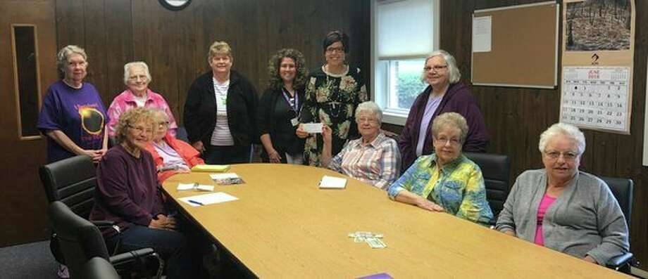 The Hope Lutheran Church of Marlette generously donated their second quarter noisy offering to the Sanilac County Child Abuse Prevention Council. Pictured with the members of the Hope Lutheran Church Women's Group areJen Gezequel and Amy Dumaw,representatives of the Sanilac County Child Abuse Prevention Council. (Submitted Photo)