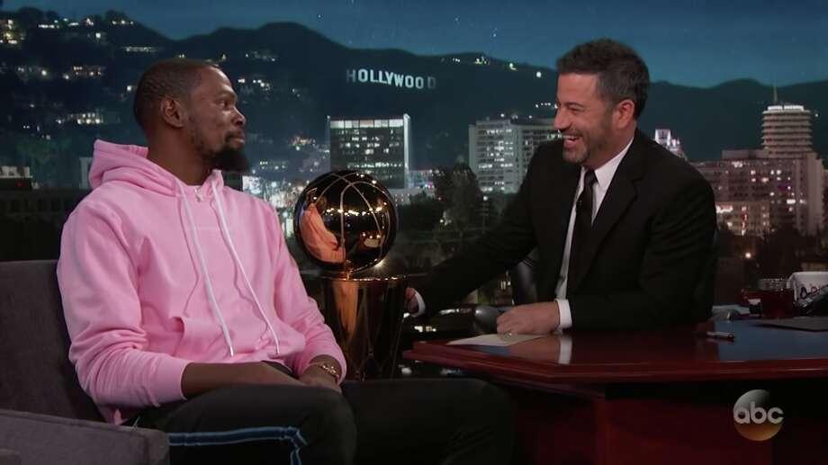 7b016abe9ef0 Kevin Durant appeared on Jimmy Kimmel Live on Monday night. Photo  Jimmy  Kimmel Live