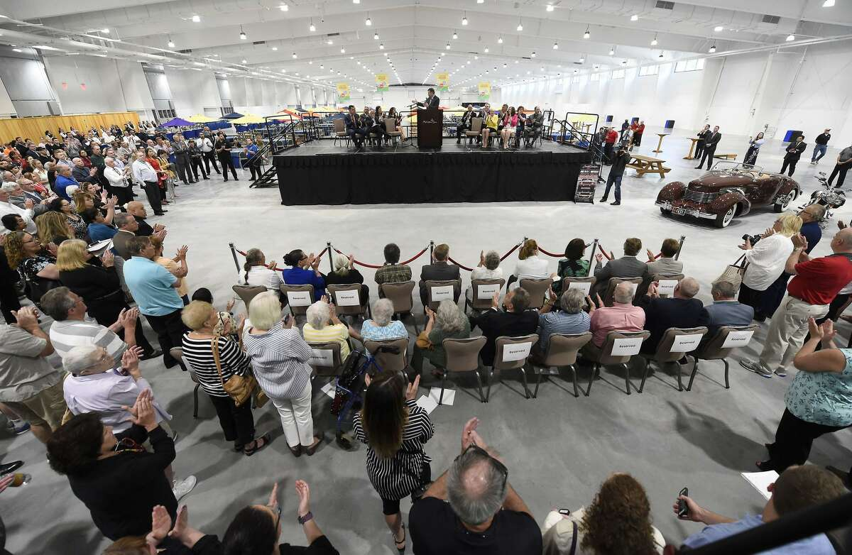 A crowd watches the May 30 opening ceremony for the new Earth Expo and Convention Center at Mohegan Sun, where Barrett-Jackson will be held.