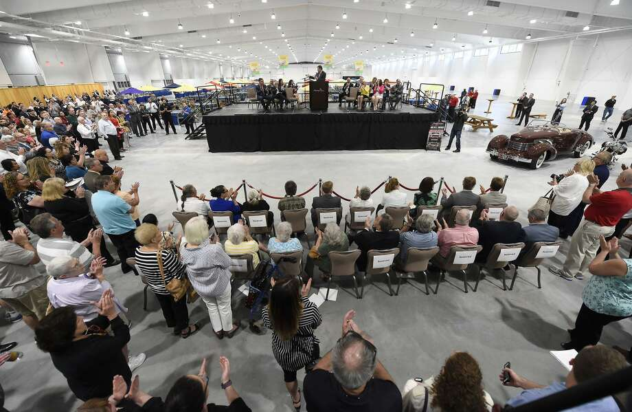 A crowd watches the May 30 opening ceremony for the new Earth Expo and Convention Center at Mohegan Sun, where Barrett-Jackson will be held. Photo: Mohegan Sun / Contributed Photo