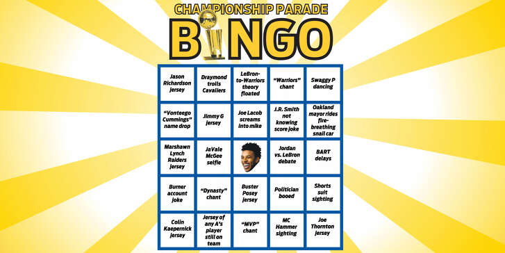 Warriors Bingo! Play along as the parade unfolds. And, as always, keep an eye on Swaggy P.