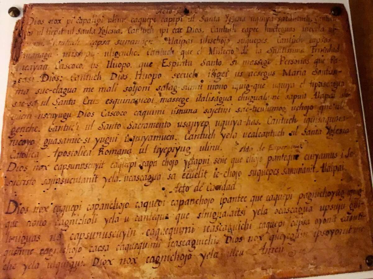 Mission Santa Barbara�s museum features early examples of written Chumash dialects.