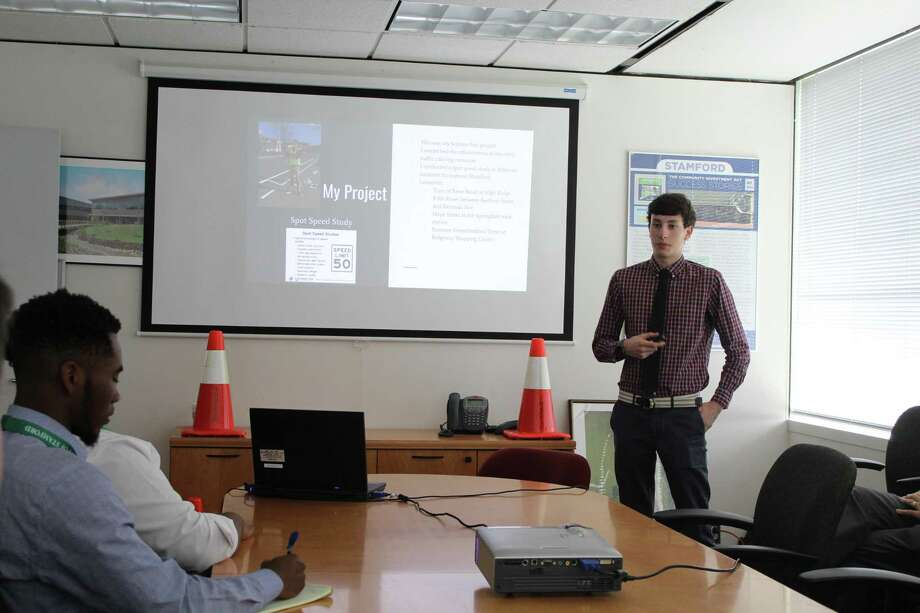 Luke Buttenwieser, 17, Monday, June 11, 2018, presented traffic study findings to city officials and Mayor David Martin. Photo: Barry Lytton / Hearst Connecticut Media / Stamford Advocate