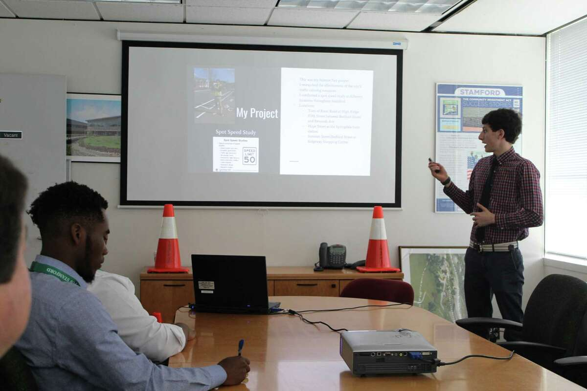 Luke Buttenwieser, 17, Monday, June 11, 2018, presented traffic study findings to city officials and Mayor David Martin.