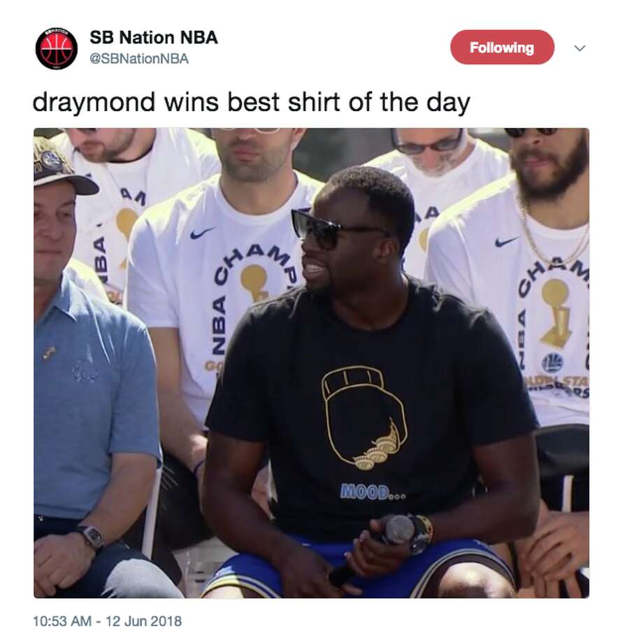 27c5ba9e18a Draymond Green at the Warriors parade on Tuesday. Photo  Screenshot Via  Twitter