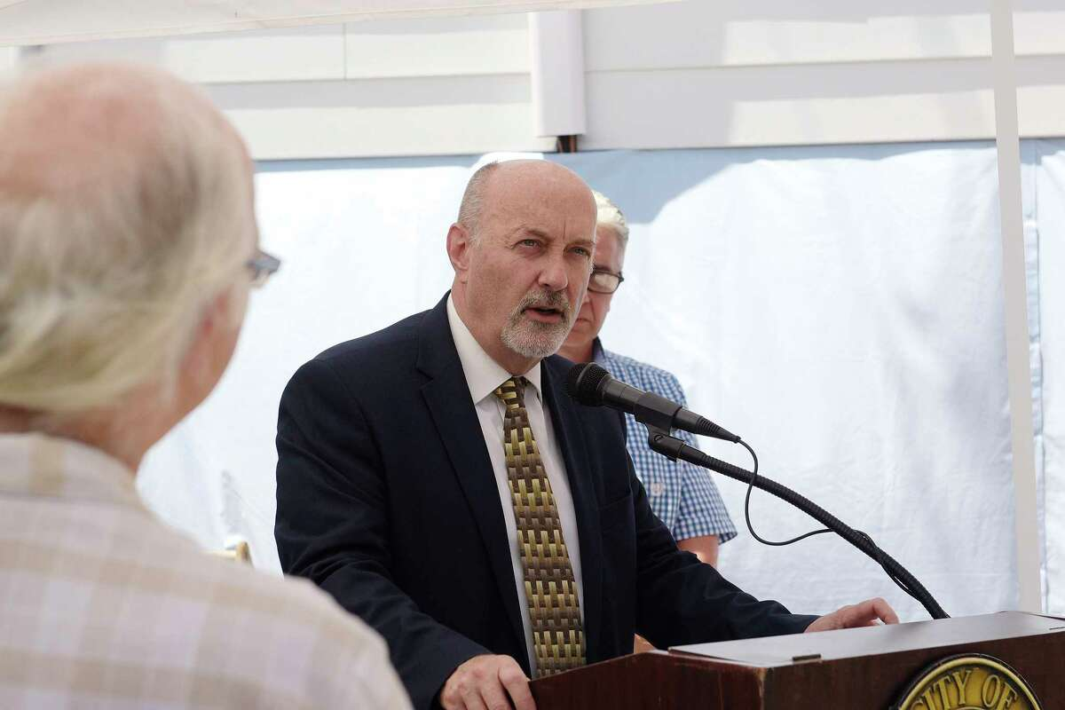 Troy Mayor Patrick Madden addresses those gathered at the home of Nancy and Bruce King for the Troy Little Italy Quality of Life Committee 2018 Best Rehab Award on Tuesday, June 12, 2018, in Troy, N.Y. (Paul Buckowski/Times Union)