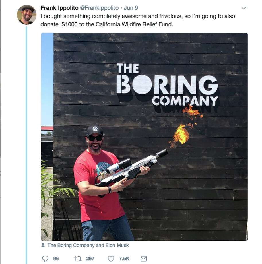 Elon Musk pledged to donate $10,000 to the California Wildlife Relief Fund amid a fundraising stunt involving the public sale of flamethrowers in fire-ravaged Southern California. Photo: Twitter