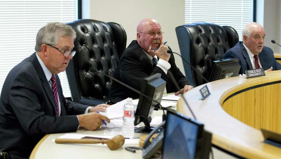 Montgomery County Precinct 2 Commissioner Charlie Riley, center, speaks beside Judge Craig Doyal and Precinct 1 Commissioner Mike Meador during Commissioners Court at the Alan B. Sadler Commissioners Court Building, Tuesday, June 12, 2018, in Conroe. Photo: Jason Fochtman, Staff Photographer / Houston Chronicle / © 2018 Houston Chronicle