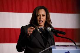 Senator Kamala Harris, a Democrat from California, speaks during a rally for Gavin Newsom, Democratic candidate for governor of California, not pictured, in Burbank, California, U.S., on Wednesday, May 30, 2018. The Democratic candidates running to replace Governor Jerry Brown -- Lieutenant Governor Newsom, former Los Mayor Antonio Villaraigosa and State Treasurer John Chiang-- have pledged to protect the rights of undocumented immigrants. Photographer: Patrick T. Fallon/Bloomberg