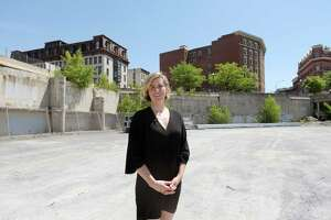Liz Comitale, manager of Troy Farmers Market, stands down in the middle of the 1 Monument Square site on Tuesday, June 12, 2018, in Troy, N.Y.    (Paul Buckowski/Times Union)