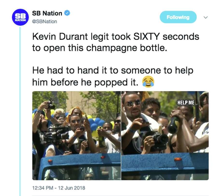 Kevin Durant: Not a bottle-popper. Photo: Screenshot Via Twitter