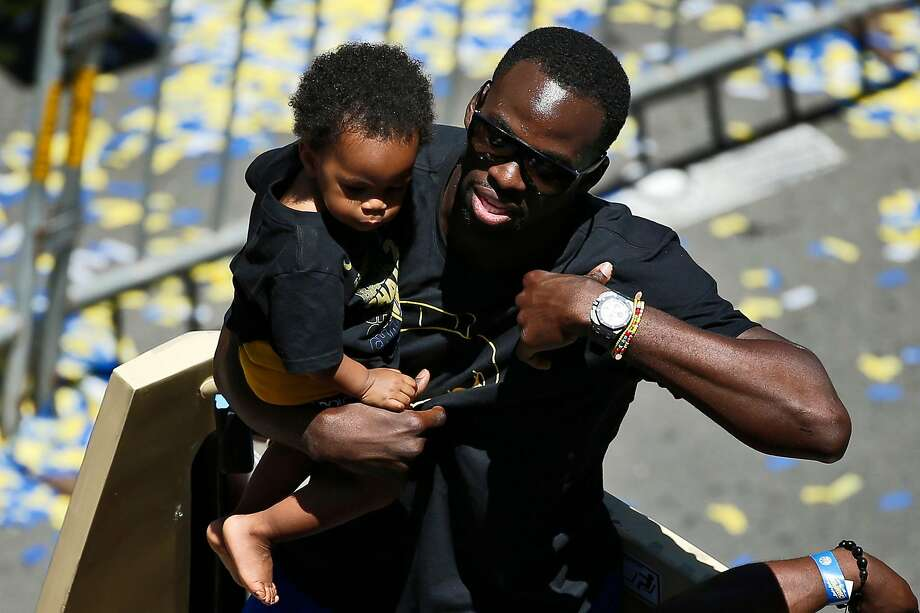 Golden State Warriors forward Draymond Green with his son Draymond Jamal Green during the Golden State Warriors Championship Parade, Tuesday, June 12, 2018, in Oakland, Calif. Photo: Santiago Mejia / The Chronicle