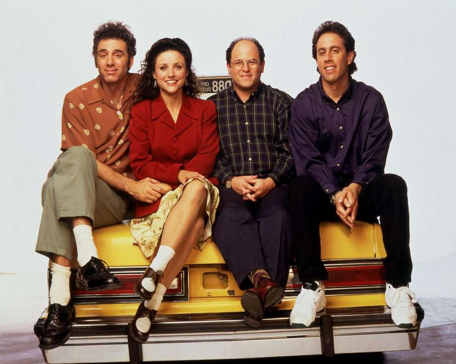 Michael Richards,  Julia  Louis-Drey fus, Jason Alexander, Jerry Seinfeld. Photo: NBC