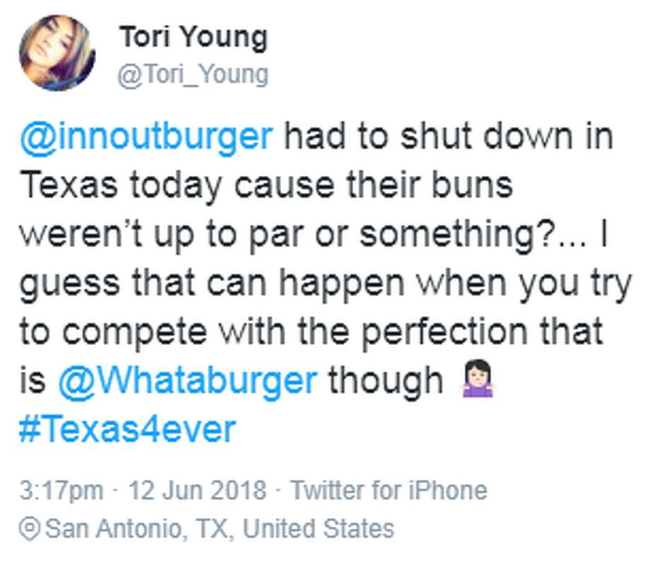 Whataburger fans and supporters took to the Internet after In-N-out announced closures in Texas due to bun quality. Photo: Twitter/Tori Young