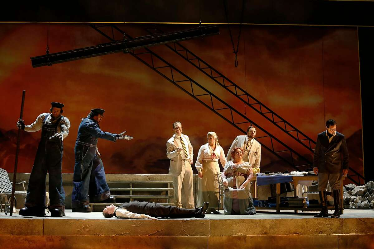 """Cast of Richard Wagner's """"Das Rheingold"""" performs their final dress rehearsal at San Francisco Opera as the first of four operas in this big tetralogy Wednesday, June 6, 2018 in San Francisco, Calif."""