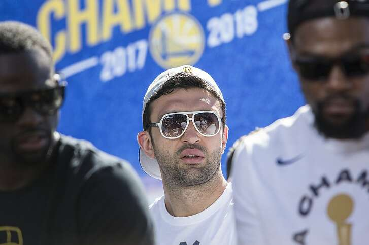 Warriors' Zaza Pachulia attends an NBC Bay Area Sports question and answer session with the team and coaches before the start of the Golden State Warriors NBA Finals victory parade in downtown Oakland, Calif. Tuesday, June 12, 2018.