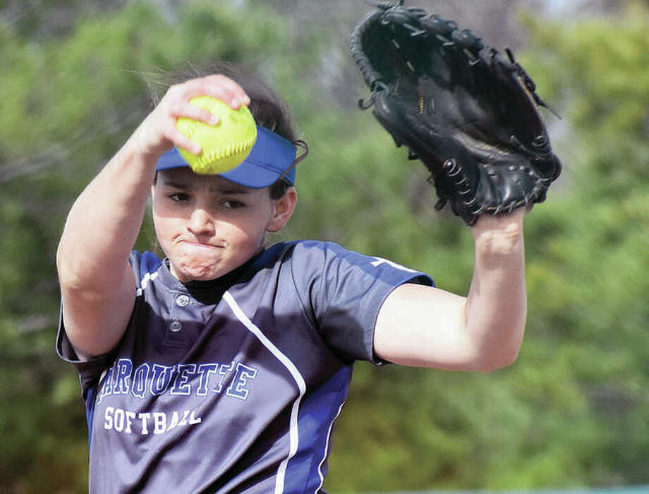 Marquette Catholic senior pitcher Meghan Schorman, a University of Pittsburgh recruit, was named to the Illinois High School Coaches Association All-State first team. Photo:       Telegraph Photo