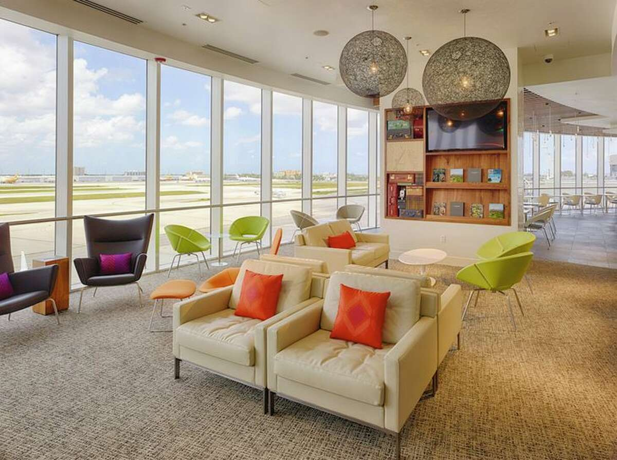 Spacious seating area at the AmEx Centurion Lounge in Miami Airport. (Image: American Express)