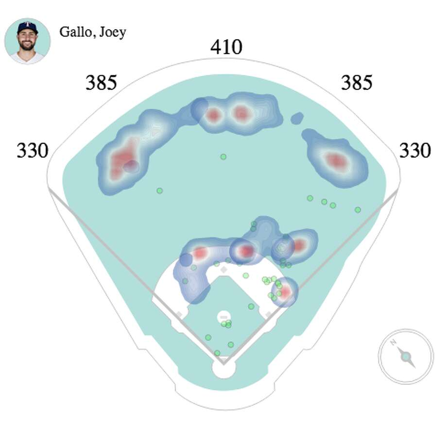 A heat map showing how teams have shifted Joey Gallo on 87.3 percent of his plate appearances this season. Photo: Baseball Savant