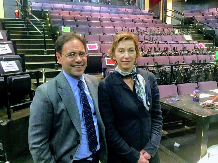 Long Wharf Managing Director Josh Borenstein and board of trustees Chairwoman  Laura Pappano at the theater Tuesday. Photo: Joe Amarante / Hearst Connecticut Media