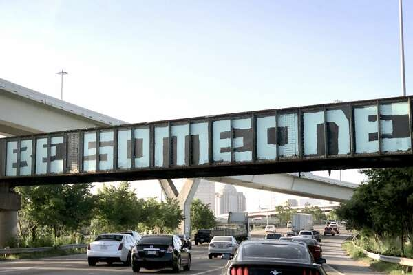 "The ""Be Someone"" bridge on I-45 S near downtown has been repainted. Photographed on June 12, 2019. ( Jill Karnicki / Houston Chronicle )"