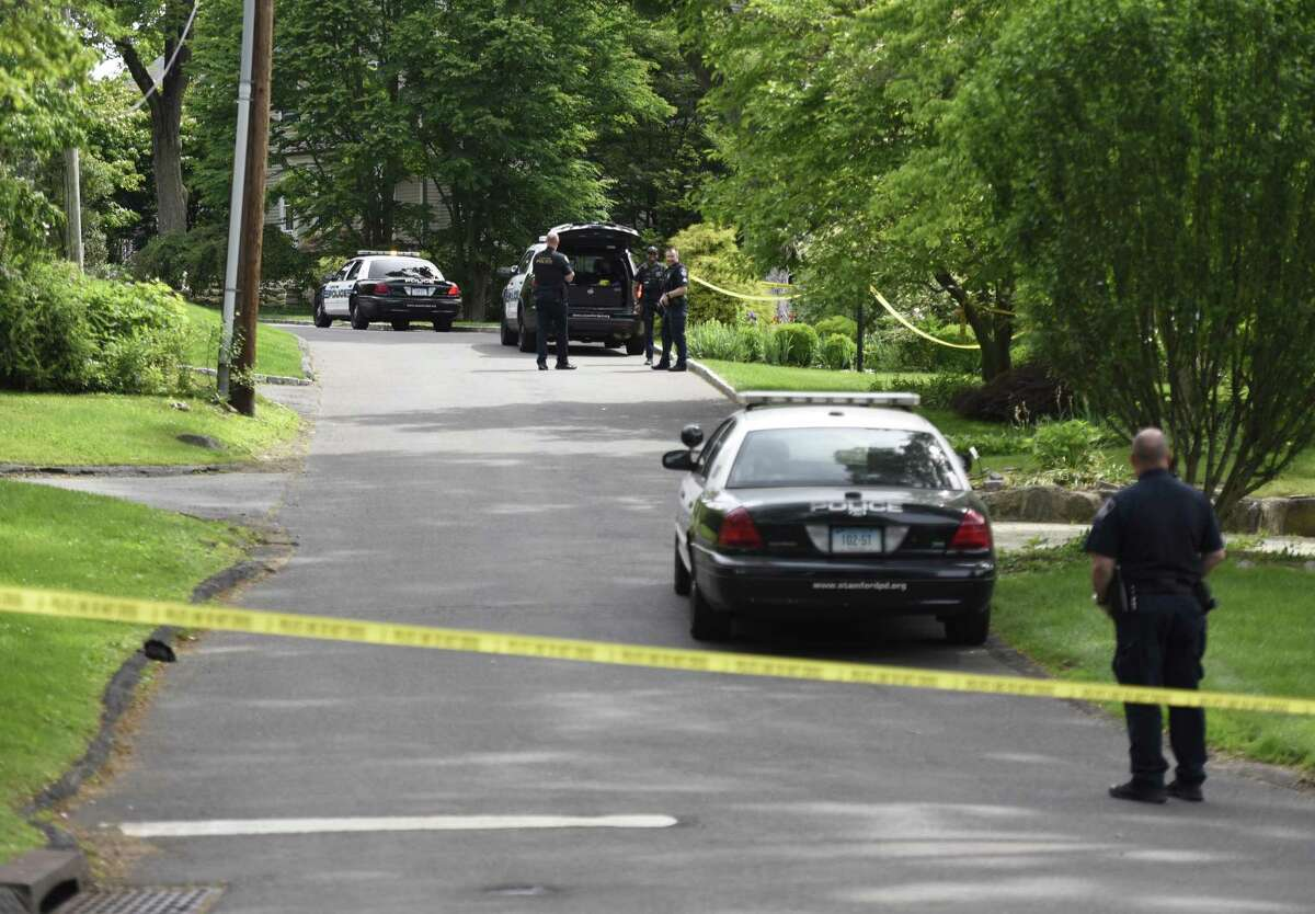 Police investigate an untimely death inside a home on Hycliff Terrace in Stamford on Monday.