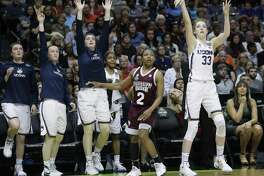 UConn forward Katie Lou Samuelson takes a shot last season against Mississippi State.