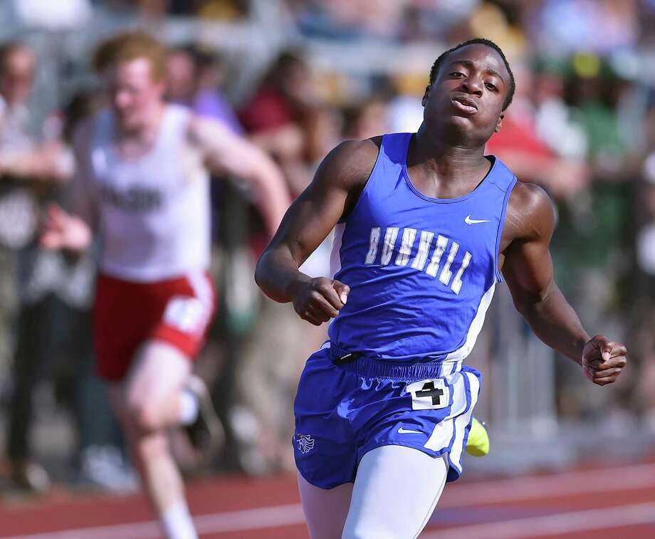 Bunnell junior Christ N'Dabian wins the 100 meter dash in 10.98 at the CIAC class MM track & field championships, Wednesday, May 30, 2018, at Middletown High School. Photo: Catherine Avalone / Hearst Connecticut Media / New Haven Register