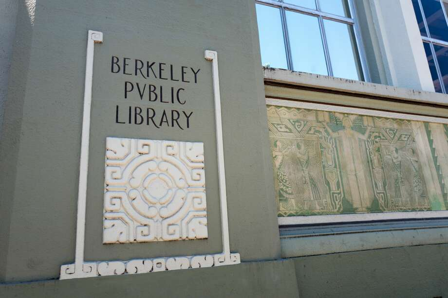 Sign on facade of the Berkeley Public Library, with neo-classical architectural style, in downtown Berkeley, California, May 17, 2018. (Photo by Smith Collection/Gado/Getty Images) Photo: Smith Collection/Gado/Getty Images