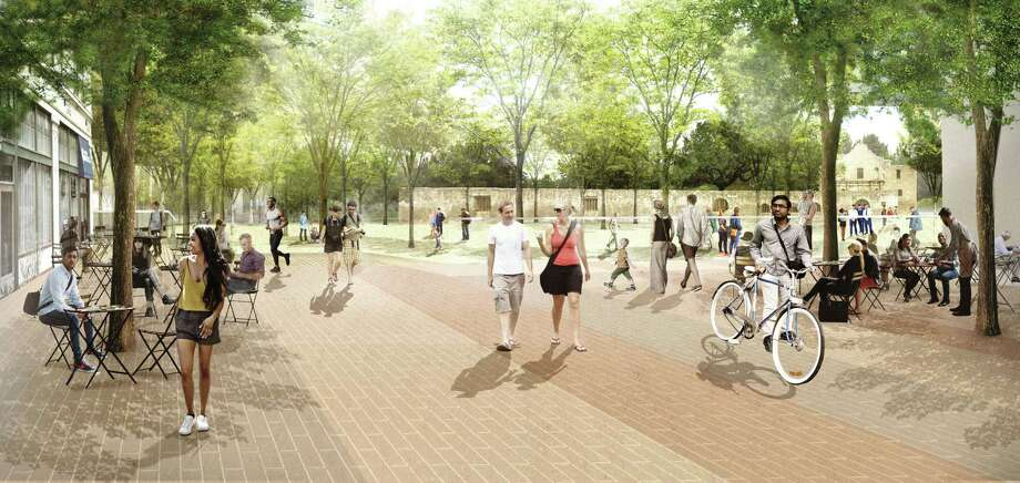 Artist's rendering shows the appearance of Alamo Plaza under a master plan that would include pedestrian friendly street arriving from Houston Street looking east. Photo: Reed Hilderbrand LLC / handout