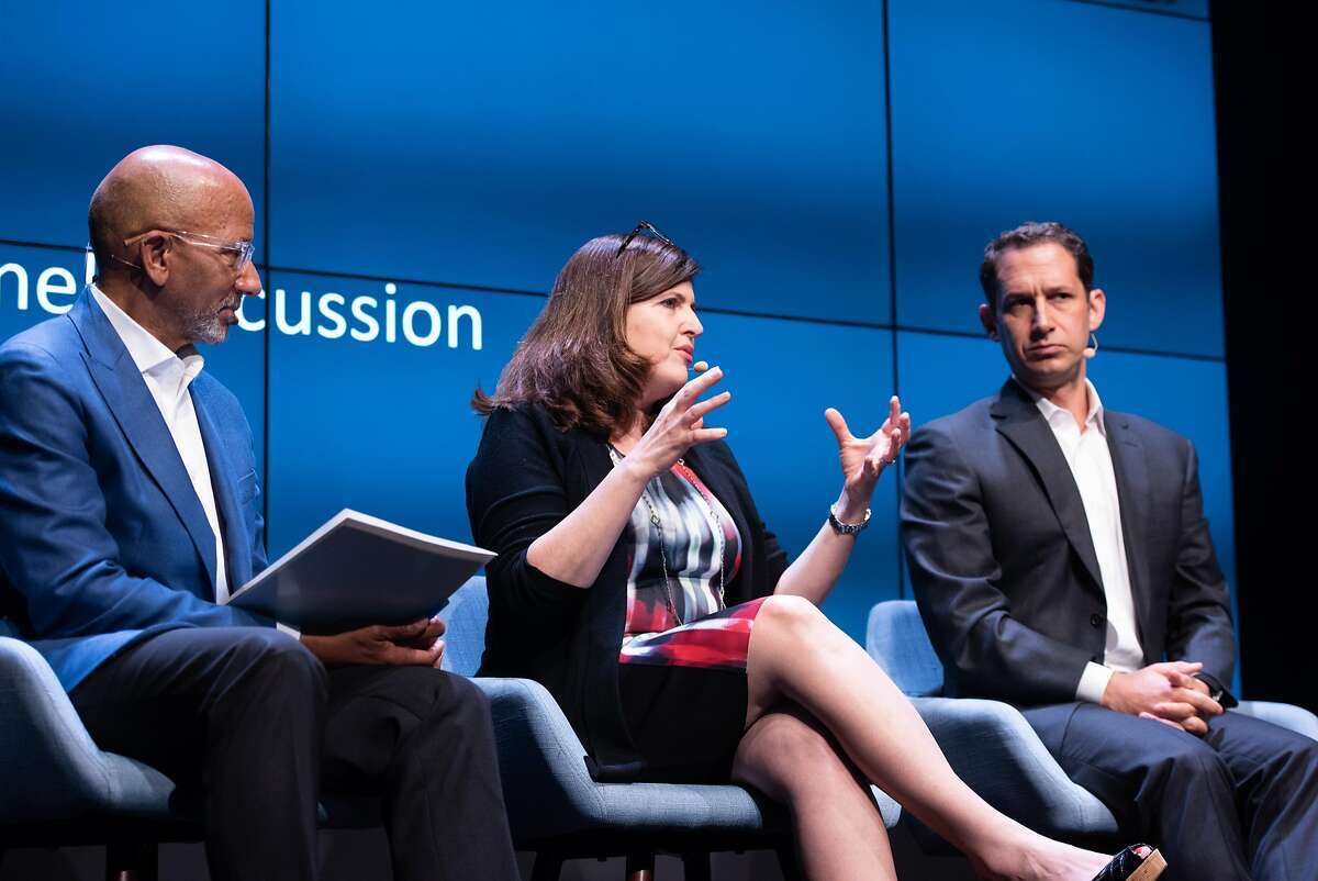 Charles Collins, chief executive of the YMCA of San Francisco,�Heather McLeod Grant, co-founder of Open Impact, and�Daniel Lurie, founder of the Tipping Point Community, participate in a roundtable discussion about philanthropy at the Commonwealth Club on Tuesday in San Francisco.