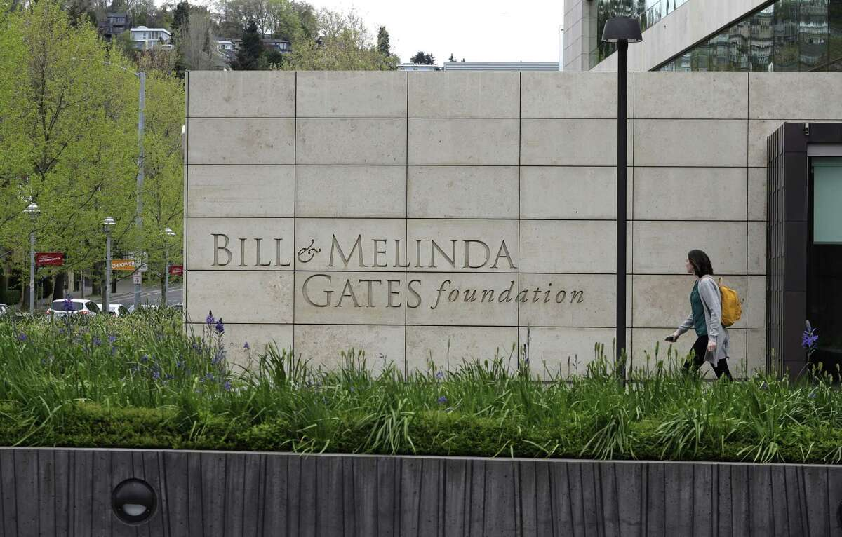 This Friday, April 27, 2018 photo shows the headquarters of the Bill and Melinda Gates Foundation in Seattle. The non-profit foundation has given about $44 million to outside groups over the past two years to help shape new state education plans required under the 2015 law, according to an Associated Press 2018 analysis of its grant database.