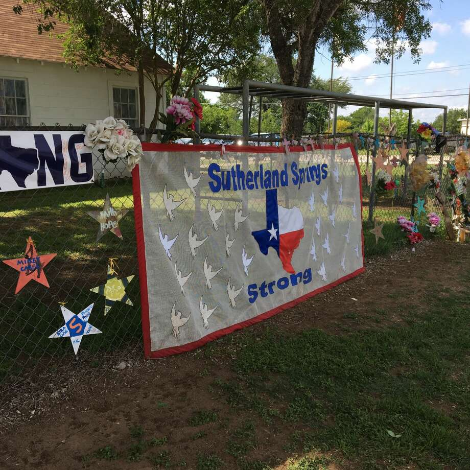 Sutherland Springs Strong banner outside the original First Baptist Church. Photo: Pew Charitable Trusts
