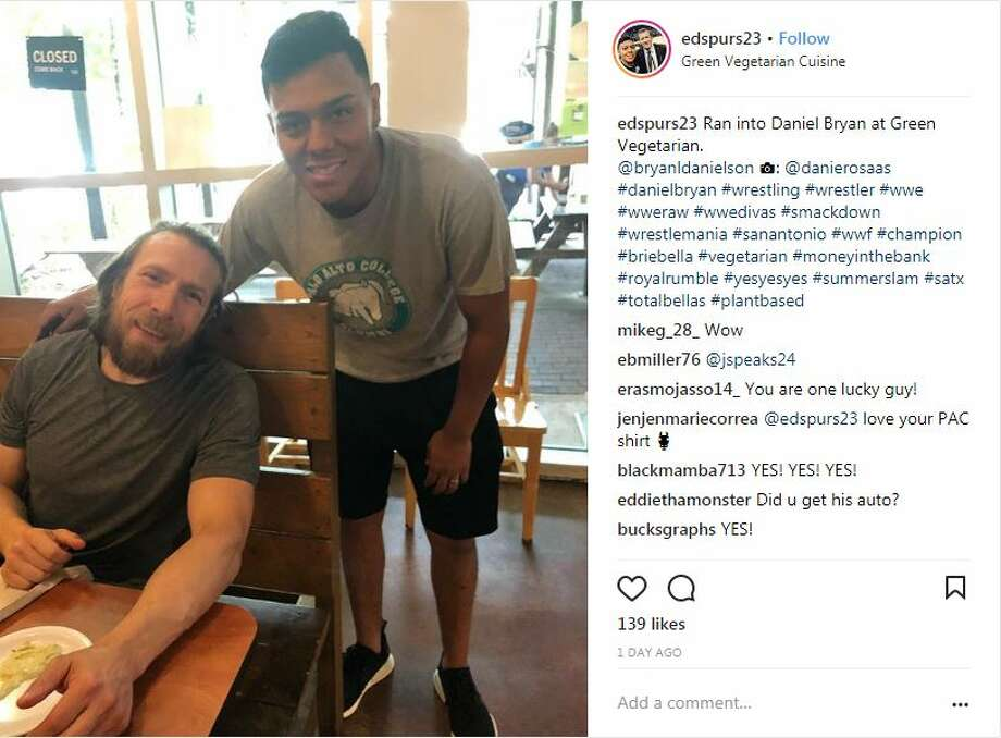 WWE star Bryan Danielson, who goes by the ring name Daniel Bryan, was spotted at Green Vegetarian Cuisine in San Antonio. Photo: Courtesy Instagram/edspurs23