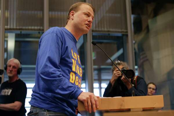 """Tim Eyman urges City Council to put the """"head tax"""" to a public vote during a public comment period before a Council vote to repeal the tax on big businesses, which was voted for unanimously last month, Tuesday, June 12, 2018. Council voted 7-2 to repeal the tax."""