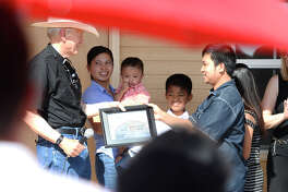 The 150th Habitat for Humanity home was donated to a family June 12, 2018. James Durbin/Reporter-Telegram
