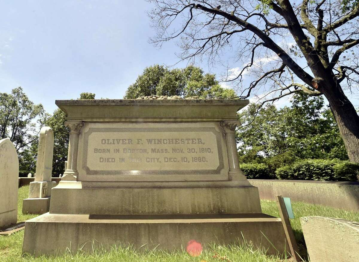 Grave of Oliver F. Winchester, founder of Winchester Repeating Arms Co., at the Evergreen Cemetery Association and Crematory in New Haven.