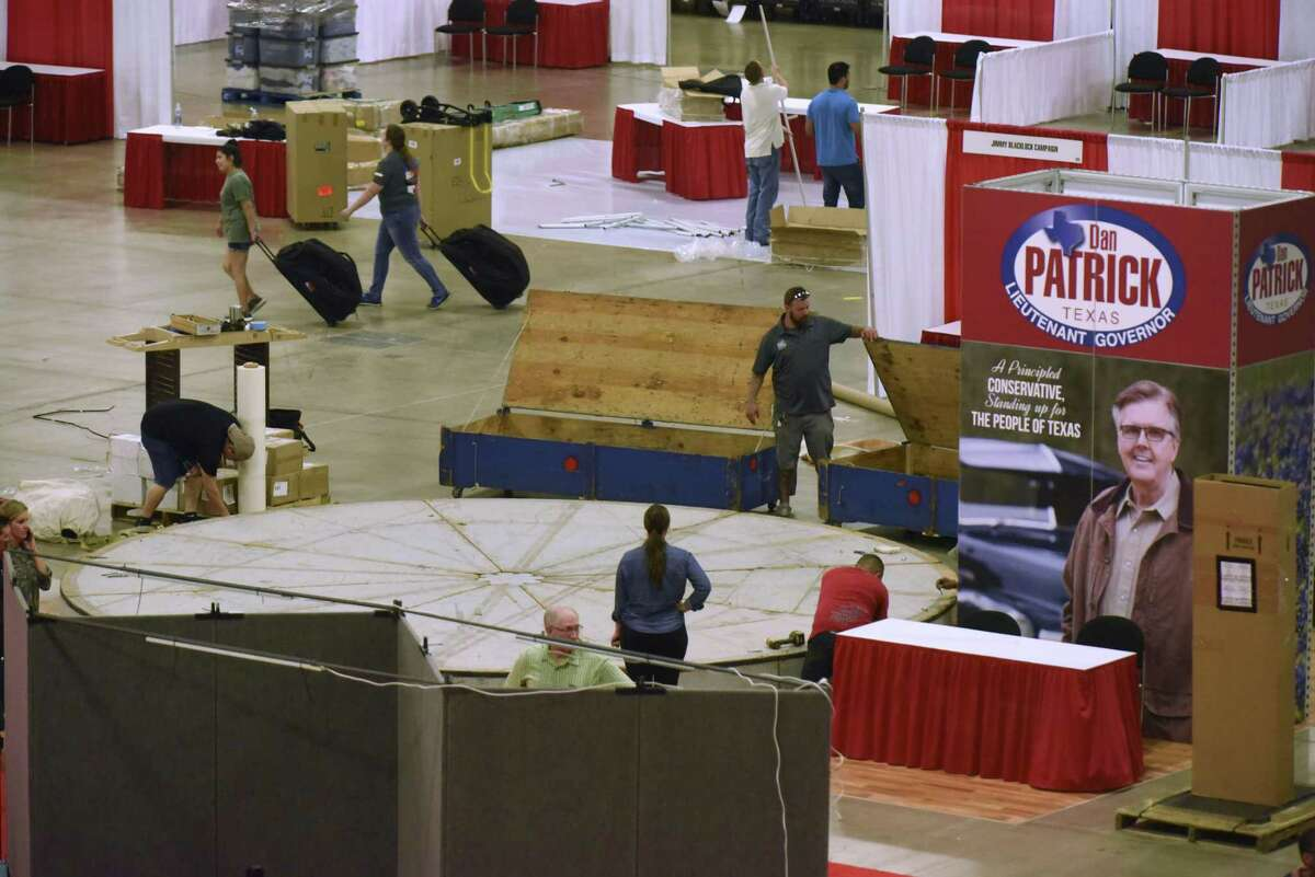 A hall in the Henry B. Gonzalez convention center is being prepared for the opening of Republican Party of Texas state convention. The convention runs from June 14 through June 16.