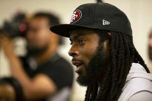 San Francisco 49ers defensive back Richard Sherman talks to the media at the NFL football team's headquarters in Santa Clara, Calif., Tuesday, June 12, 2018. (AP Photo/D. Ross Cameron)